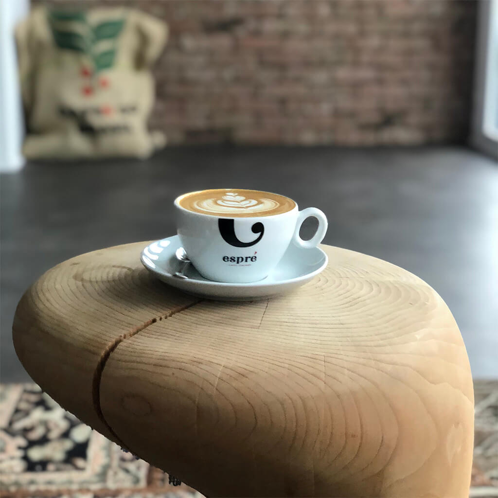 coffee cup on a unique table
